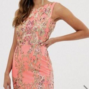 Goddiva high neck maxi embellished sequin dress
